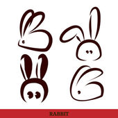 Vector: rabbit, hand writing,black and white — Stock Vector