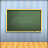 Vector: empty school blackboard at blue wall in interior with wo — Stock Vector