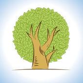Vector: abstrakte Zeichnungen üppige Baum — Stockvektor