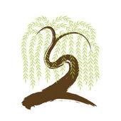 Vector: artistic brushwork willow tree — Stock Vector