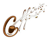 Coffee and music lettering — Stock Vector