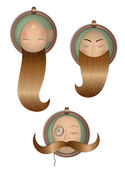 Hairstyle Vintage Set in Frames — Stock Vector