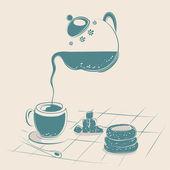 Tea Drinking — Stock Vector