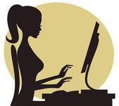 Donna che lavora — Vettoriale Stock