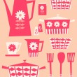 Retro Kitchen Set — Imagen vectorial