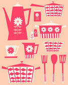 Retro Kitchen Set — Stock Vector