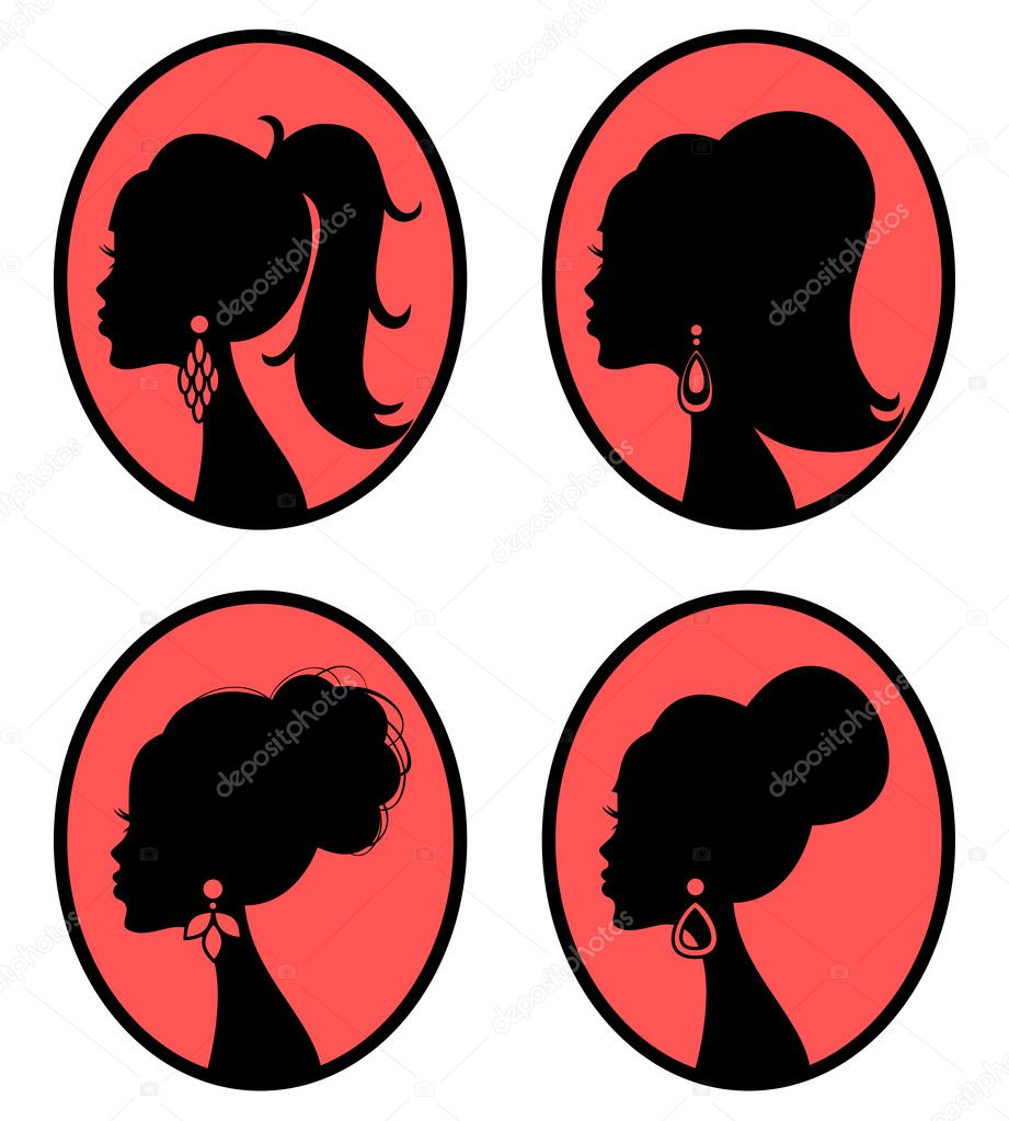 Collection of four elegant female silhouettes with different hairstyles. Each silhouette is grouped and placed on a separate layer. Easy to edit. — Stock Vector #7969096