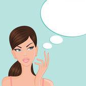 Chica de pensamiento — Vector de stock