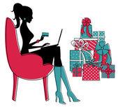 ходить по магазинам для рождества — Cтоковый вектор