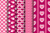 Valentine Patterns Set — Stok Vektör