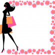 Stock Vector: Summer Shopping Girl