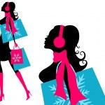 Winter Shopping Girl — Stock Vector