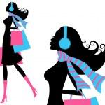 Winter Shopping Girl — Stock Vector #8872155