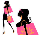 Summer Shopping Girl — Stock Vector