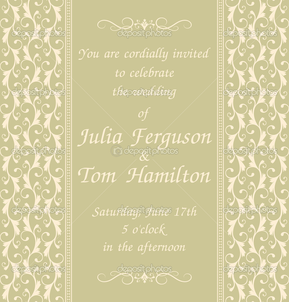 Vintage Invitation Template — Stock Vector © ivaleks #9164358