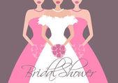 Bride and Bridesmaids — Stock Vector