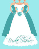 Bride and Her Bridesmaids — Vector de stock
