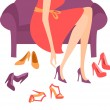 Shopping for Shoes - Stock Vector