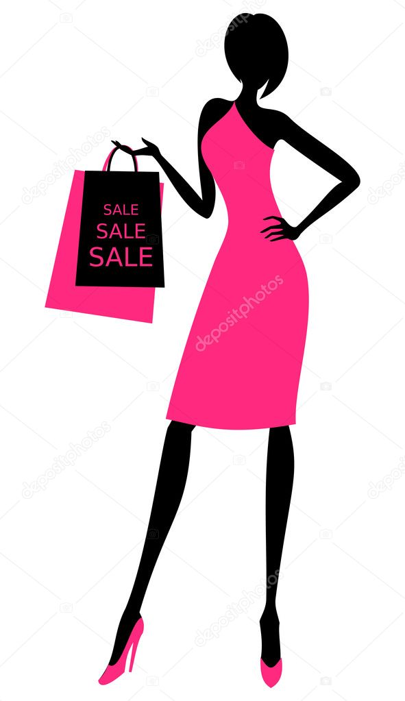 Illustration of a young elegant woman holding shopping bags.  Stock Vector #9784435