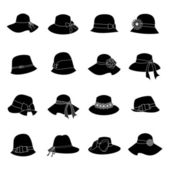 Elegant Hats Icon Set — Vettoriale Stock