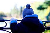 Small Cute Boy Standing On The Bridge — Stock Photo