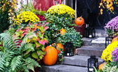 Decoration of the house in the old town. Halloween Warsaw. Poland — Stock Photo