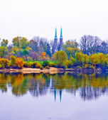View of the towers of Saint Florian's Cathedral and the river Vist — Stock Photo