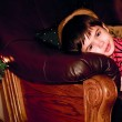 Boy looks out for christmas tree, indoor — Stock Photo