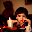 Boy with candle. New year. Christmas — Stock Photo