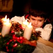 Cute boy with christmas decorations — Stockfoto