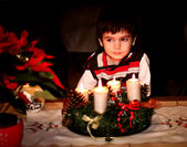 Boy waiting for Santa Claus. The night. Spark. Christmas Ornaments — Stock Photo