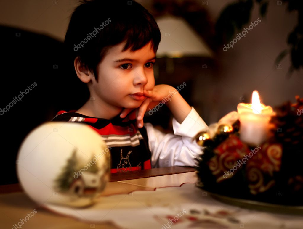 Portrait of a beautiful boy. Christmas Eve — Stock Photo #8512114