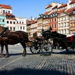 Horse and carriage. Old tomn. Warsaw. Poland — Stock Photo #9025231