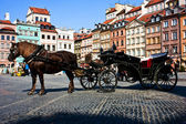 Horse and carriage. Old tomn. Warsaw. Poland — Stock Photo