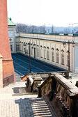 Een ongebruikelijke punt van opnames van koninklijk kasteel in warschau. polen — Stockfoto