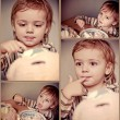 Collage of babys celebrating a birthday  at home - Stock Photo