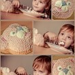 Cute boy. Happy birthday. Collage - Stock Photo
