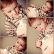 Cute baby boy with  cake. Collage - Stock Photo