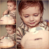 Collage of babys eating cake — Stock Photo