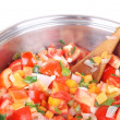 Cooking vegetable soup - Stock Photo