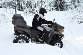 All-terrain vehicle got stuck in snow — Stock Photo
