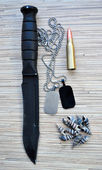 Military set, with a knife and dog tags — Stock Photo