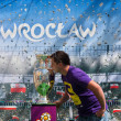 2012, May, 5th, Wroclaw in Poland - Posing in front of famous UEFA CUP — Stock Photo