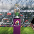2012, May, 5th, Wroclaw in Poland - Posing in front of famous UEFA CUP — Stock Photo #10446137