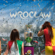 2012, May, 5th, Wroclaw in Poland - Posing in front of famous UEFA CUP — Stock Photo #10446139