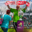 2012, May, 5th, Wroclaw in Poland - Posing in front of famous UEFA CUP — Stock Photo #10446140