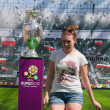 2012, May, 5th, Wroclaw in Poland - Posing in front of famous UEFA CUP — Stock Photo #10446146