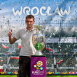 2012, May, 5th, Wroclaw in Poland - Posing in front of famous UEFA CUP — Stock Photo #10446147