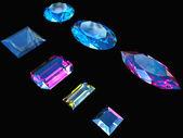 Diamonds on black background — Stock Photo
