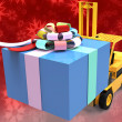 Forklift with gift box - Foto Stock